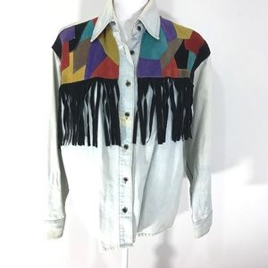 Vintage 80s denim fringe button down